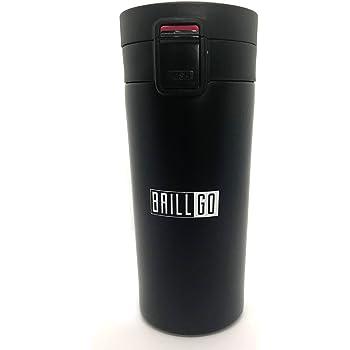 BRILLGO Travel Mug, Coffee Mug, Flask 100% Leak Proof Insulated Stainless Steel Vacuum 380ML Black