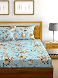 Urban Space Serene Summer Collection 200 TC 100% Combed Cotton Double Bedsheet with 2 Pillow Covers, (Aqua Blue, Double)