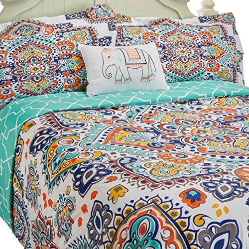 Aqua King Bettbezug (Chic Home 4Stück Karen wendbar boho-inspired Print und moderne geometrische gemustert Technik King Bettbezug Set Aqua)