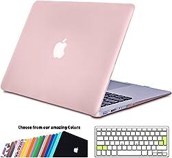 iNeseon MacBook Air 13 Zoll Hülle Case, Slim Plastik Hartschale Schale Cover Zubehör mit EU Transparent Tastaturschutz Schutzhülle für Apple MacBook Air 13.3 Zoll Modell:A1466&A1369 (Rose Quartz)