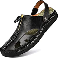 Kouani Men'S Sandals Outdoor Leather Closed Toe Beach Shoes