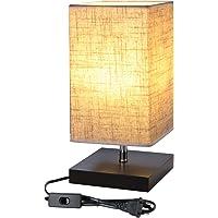 Lighting EVER Lampe de Chevet Design E27 Finitions Supers Socle en Bois Carré Abat-jour en Tissu Lampe de Chevet…