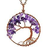 Luvalti Tree of Life - الأحجار الكريمة Chakra مجوهرات الأرجواني البرونزي سلسلة قلادة