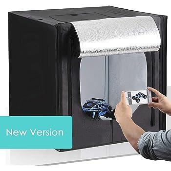 """Amzdeal Photo Studio 20""""x20""""/50 * 50cm Portable Photo Box Light Tent Lighting Kit with 2pcs 5500K LED Lighting Foldable Cube Professional Photography Box (White/Black/Orange Backdrops)"""