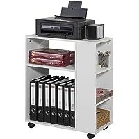 SoBuy® FBT68-W Bout de Canapé Table Roulante avec étagères de Rangement Bibliothèque à roulettes