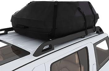 Acecoree Faltbare Auto Dachbox Schwarz Wasserdichte Dachtasche Aufbewahrungsbox Oberseite Träger Dach Cargo Bag für Reise und Gepäcktransport