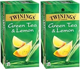Twinings Green Tea and Lemon, 25 Tea Bags- (Pack of 2)
