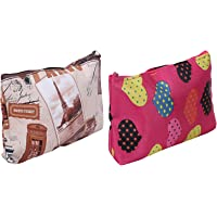 Kuber Industries Small Rexine 2 Pieces Multipurpose Travel Toiletry Pouch Set (Multi)-CTKTC025759