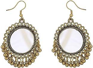 Total Fashion Small Mirror Hook Gold Dangle & Drop Earrings for Women