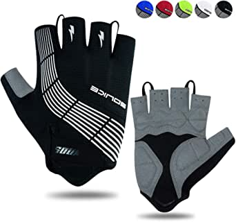 Souke Sports Cycling Gloves Half Finger Bicycle Gloves Moutain Bike Gloves For Men Women Padded Anti-Slip MTB Fingerless Road Riding Gloves