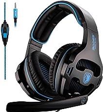 [2016 SADES SA810 freigegebene Multi-Plattform Xbox one PS4 Gaming Headset], Gaming Headsets Kopfhörer Gaming Xbox EIN PS4 PC Laptop Mac iPad iPod (schwarz & blau)