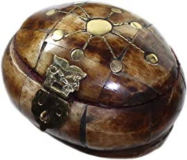 budawi® - Dose-Schatulle aus Horn, Schmuckdose aus Bone, Schatulle oval klein