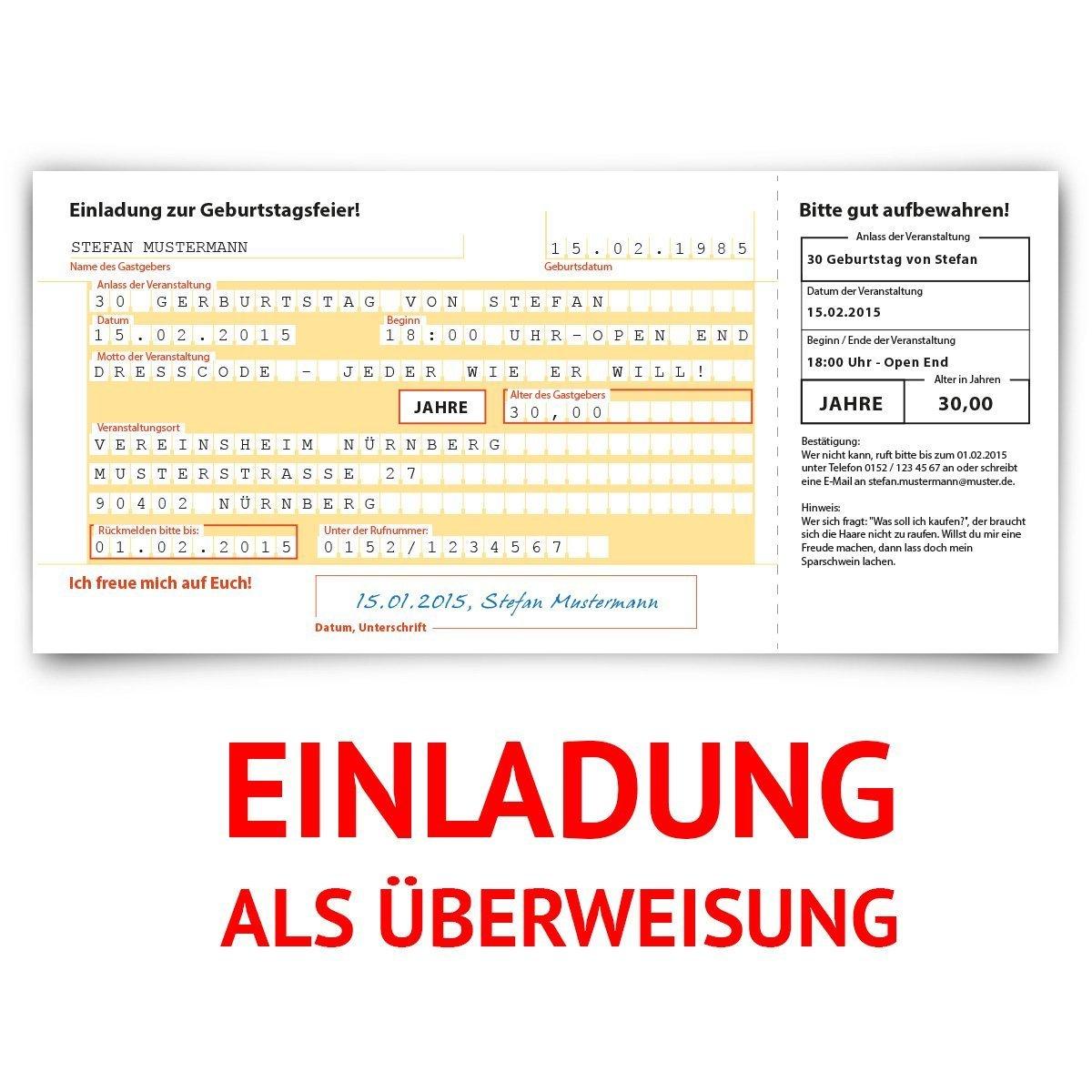 Einladungskarten Zum Geburtstag (60 Stück) Überweisung SEPA Bank Konto  Zahlung Geldsendung: Amazon.de: Bürobedarf U0026 Schreibwaren