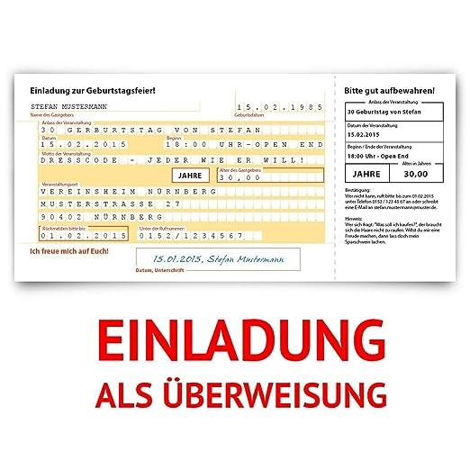 Einladungskarten Zum Geburtstag (30 Stück) Überweisung SEPA Bank Konto  Zahlung Geldsendung: Amazon.de: Bürobedarf U0026 Schreibwaren