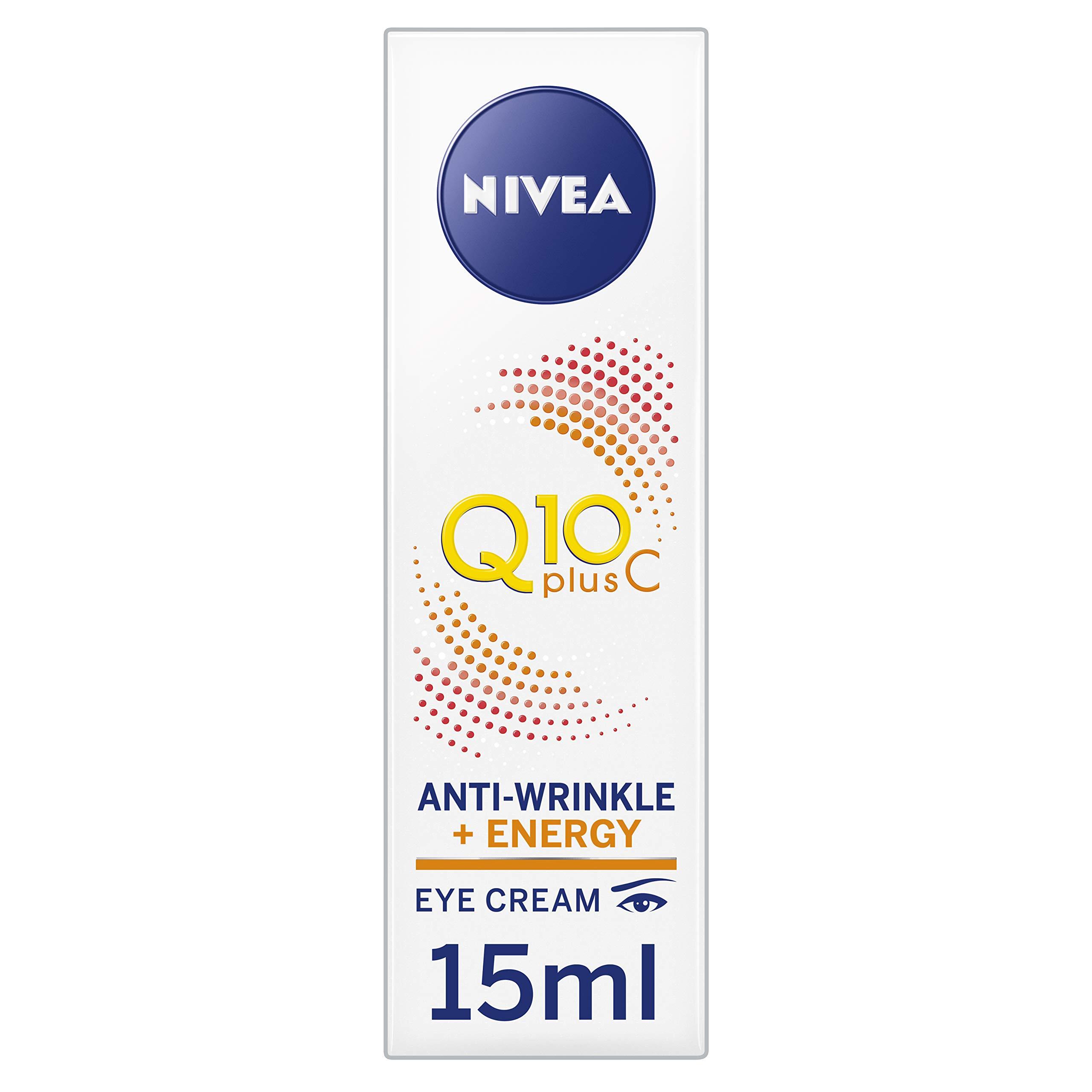 NIVEA Q10 Plus C Crema antiarrugas + Energy Eye Cream, crema para ojos antienvejecimiento con vitamina C y Q10 antioxidantes, uso diario, 15 ml