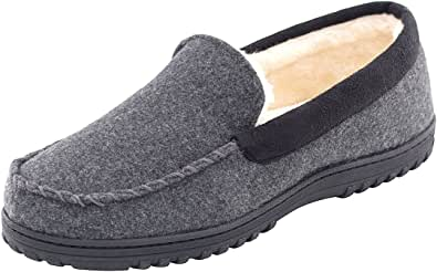 Men's Micro Wool Moccasin Slippers with Plush Fleece Lining