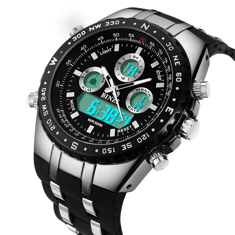 tiendas populares nueva productos super especiales Relojes Hombre Deportivo Binzi, Lujo Digital Watch analogico Caballero,  Reloj de Pulsera Militar,Resistente al Agua Calendario Fecha Cronografo