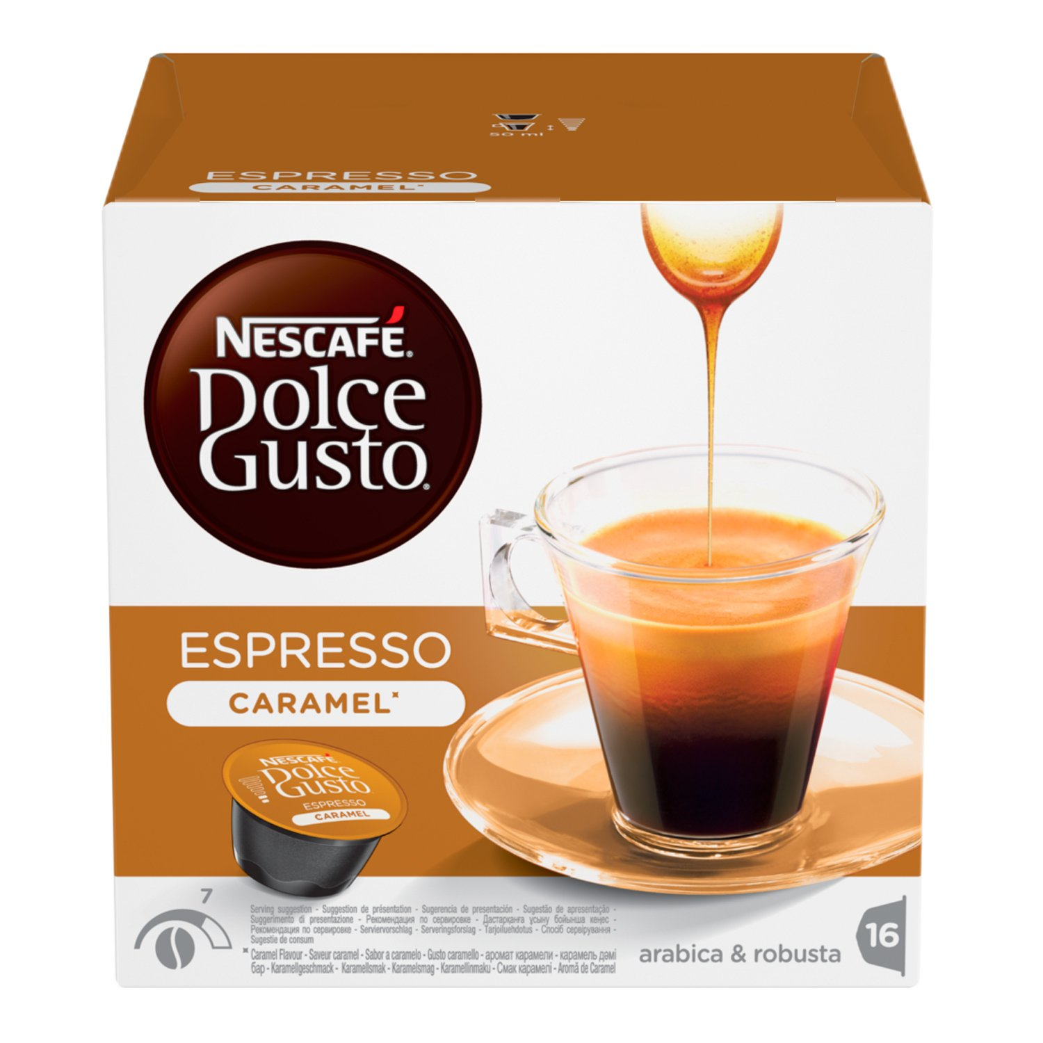 Nescafé Dolce Gusto Espresso coffee pods and capsules (a caramel notes coffee with aromas of caramel and roasted)