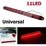 Riloer Car Rear Stop Light, Universal 12V 11 LED Third Tailgate High Level Rear Brake Light, Red Light