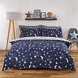 Dreamscene Moon Stars Galaxy Duvet Cover with Pillowcase Reversible Night Sky Bedding Set, Navy Blue Grey - Double