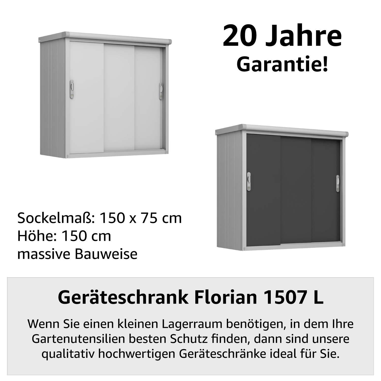 GFP Gartenschrank Florian 1507 L aus Metall, 150x75x150cm – formstabil und witterungsbeständig, Premium Qualität Geräteschuppen, Schuppen & Metallschrank mit Schiebetür