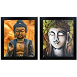 Home Attire HAP-1119 Lord Buddha Paintings, Set of 2 (12x14 inch)
