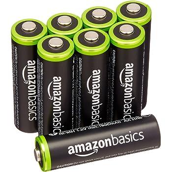 AmazonBasics - Pile Ricaricabili Stilo AA Ni-MH, precaricate, 1000 cicli (tipico 2000 mAh/minimo 1900 mAh), confezione da 8 pezzi. Involucro esterno variabile