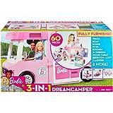 Barbie Mobilier Camping-Car de Rêve 3-en-1 pour poupées, véhicule transformable avec piscine, pick-up, bateau et 50accessoires, jouet pour enfant, GHL93