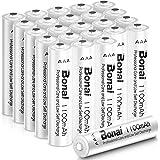 BONAI NI-MH AAA uppladdningsbara batterier hög kapacitet 1100 mah, 1200 cyklar ladda AAA-batterier, 24-pack
