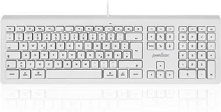 Perixx PERIBOARD-323 Tastatur für Apple Mac Pro, MacBook Pro/Air, iMac, Mac Mini - Weiß Beleuchtet - Deutsches QWERTZ Layout