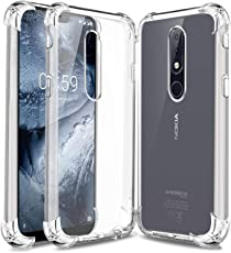 Jkobi Silicon Flexible Protective Shockproof Corner Back Case Cover for Nokia 6.1 Plus -Transparent