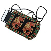 Kuber Industries Designer Embroided Mobile Phone Pouch Cover with Purse Pocket and Sari Hook for Women