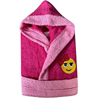 Accappatoio spugna Bambino Bambina 100% Cotone Con cappuccio, Tasche e Cintura ricamo Smile fucsia, rosa, azzurro, verde…