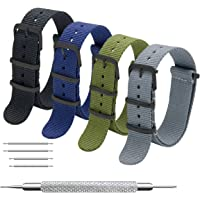 MEGALITH Cinturino Orologio 4 Pacchetti 16mm 18mm 20mm 22mm 24mm Balistico Cinturino Nato Cinturino in Nylon con Fibbia…