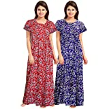 NEGLIGEE Women's Cotton Printed Floral Knee Length Nighty (Red and Blue, Free Size) - Combo Pack of 2