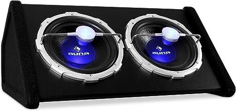 """auna Twin-SUB 2X12 • Auto-Subwoofer • Doppel-Subwoofer • Twin-Subwoofer • 2000 Watt max. Leistung • 2 x 30 cm (12"""")-Tieftöner • 5 cm (2"""")-Schwingspule • Frequenzgang: 33 bis 1000 Hz • Empfindlichkeit: 90 dB • blauer LED-Lichteffekt • schwarz"""