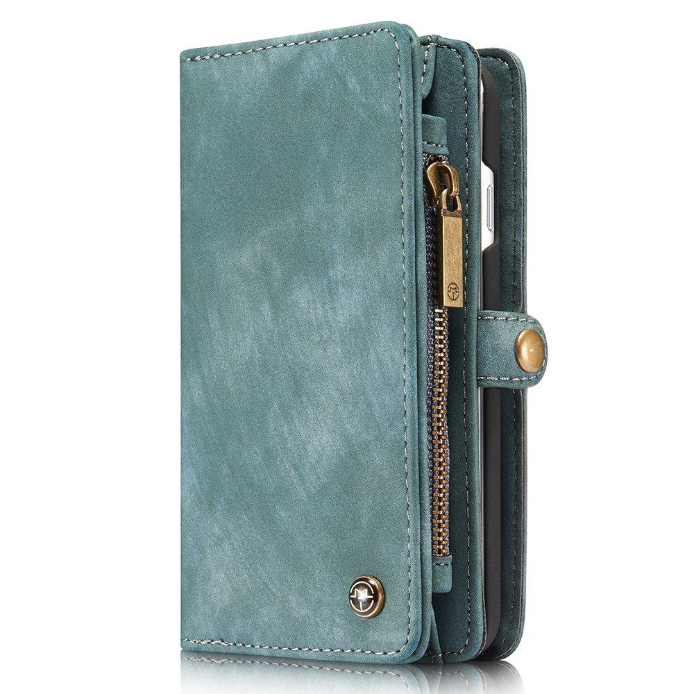 Leather Wallet Phone Case iPhone X/8/8 Plus/7/7 Plus/XS/XS Max/XR Premium Zipper Flip Wallet Case Cover With Detachable Magnetic Hard Case,4 Colors