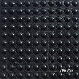 SAIYU rubberen voetjes pads 100 stuks lijm bumper pad silicone bumper bescherming pad (100 stuks, 9 mm x 3 mm, zwart, halve b