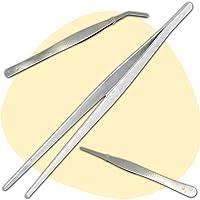 3 Pince Alimentaire Inox (1 Grande Pince Cuisine 30 cm - 1 Pince Droite 18 cm - 1 Pince Courbée 18 cm) - Solution Simple…