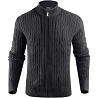 iClosam Mens Cardigan Thick Knitted Sweater Full Zip Stand Collar Warm Jumper Winter Coat