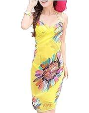 Livina Women's Chiffon Sling Sarong Bikini Cover-up Wrap Flower Swimwear with Panty (Yellow, Red, Free Size)