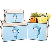 DIMJ Lot de 3 Boîte de Rangement Tissu pour Enfant Jouets, Coffres à Jouets Pliable Caisse de Rangement avec Couvercle…