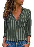 AitosuLa Chemisier Femme Blouse Rayures Col V Casual Mode Tunique Haut Top Shirt Manche Longue