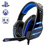 Beexcellent Micro Casque Gaming PS4, Casque PC Ultra-Léger Stéréo Lumière Stéréo Bass Anti-Bruit LED lumière avec 3.5mm...