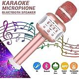 Bluetooth Karaoke Mikrofon mit Disco-Lichtern, Mikrofon Kabellos für die Aufnahme von Gesang und Sprache als Lautsprecher für PC, Laptop, iPhone, iPod, iPad, Android (Rose)