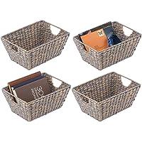mDesign panier fibre naturelle avec poignées (lot de 4) - panier en osier pour chambre, salon, salle de bain etc…