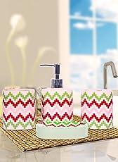 Kartik Designer Ceramic Bathroom Accessories Set of 4 Pieces (Soap Dish Holder, Soap Dispenser, Tumbler &Toothbrush Stand)-Multi Color