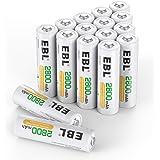 EBL 1.2V AA Batterie Ricaricabili ad Alta Capacità da 2800mAh Ni-MH,1200 cicli con Auto-Scarica Bassa,Confezione da 16 pezzi