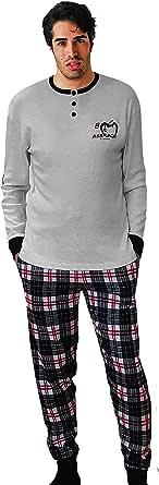Baci & Abbracci® Pigiama Uomo Invernale 100% Cotone Caldo Interlock Pigiama Uomo Cotone Lungo Elegante Abbigliamento da Notte Maniche Lunghe Due Pezzi