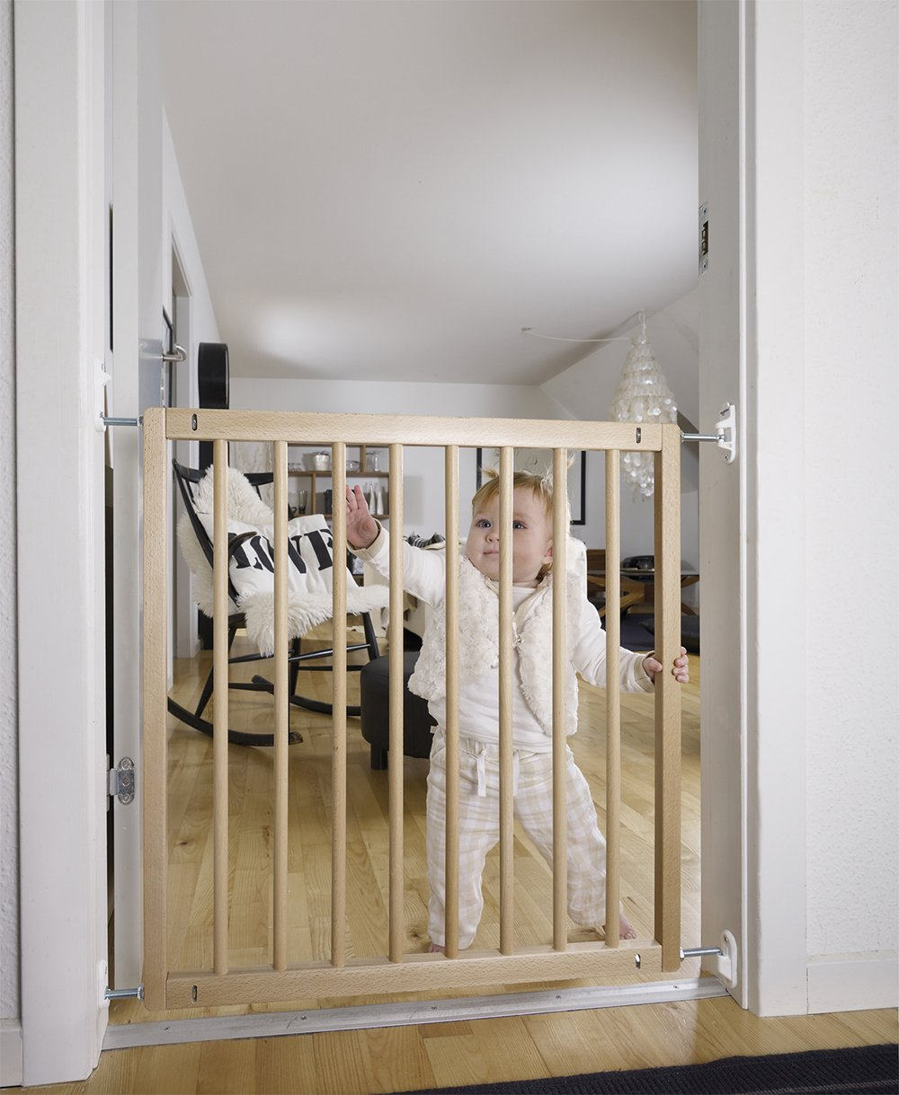 "BabyDan No Trip Beechwood Safety Gate  No Trip Safety Gate made from 100% European beechwood.  Opening measurements: 72 - 78,5 cm (28.4"" - 30.9""). Features NO TRIP Bar so ideal fro tops of stairs and busy doorways Quick to install and features adult operated quick relase wall fittings 3"